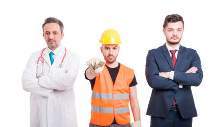 blame: Image of doctor, lawyer and constructor looking serious and pointing you as blame or fault concept isolated on white background