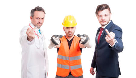 obscene: Group of successful people acting rude and offensive and showing middle fingers isolated on white background Stock Photo
