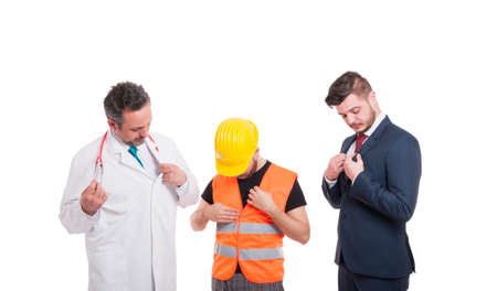 People with different jobs getting ready and dressed for work and fixing their clothes isolated on white