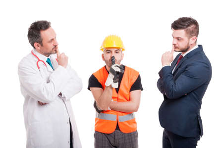 Group of people with different professions doing shush gesture as silence concept isolated on white background Stock Photo
