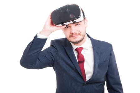 Cheerful man having great experience with 3d goggles as virtual reality concept on white background