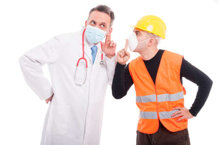 Doctor making listening gesture and constructor showing sush sign or silence isolated on white background