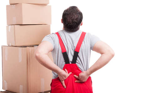 Back view of mover man holding his back like hurting isolated on white background