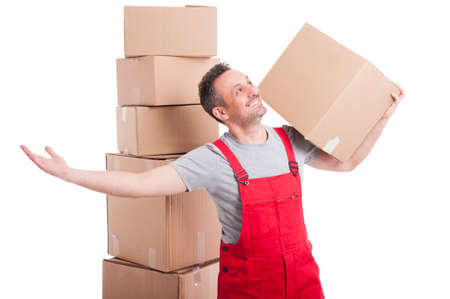 Happy mover guy holding box and looking up with arms wide open and smiling like being content isolated on white background