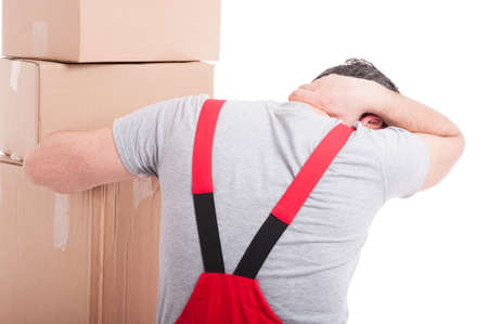 Back view of mover guy holding his neck like hurting isolated on white background