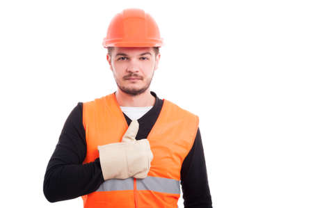 Builder man raising his finger up as like symbol on a white background with copyspace