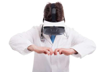 thru: Medic or doctor opening something imaginary while watching thru vr glasses on white background