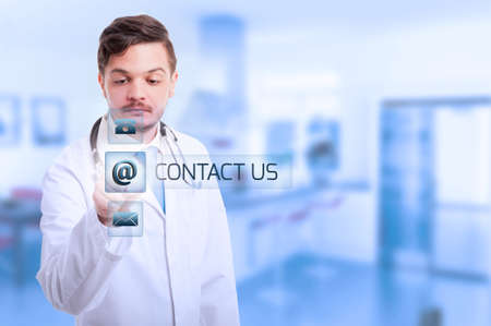 Medic or doctor working with futuristic interface as technology and networking in medicine concept