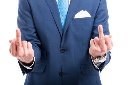 Elegant lawyer in stylish suit showing both middle fingers on white studio background Stock Photo