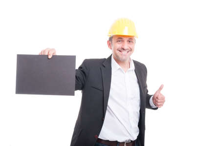 trustworthy: Portrait of contractor holding grey cardboard  isolated on white background with copy text space Stock Photo