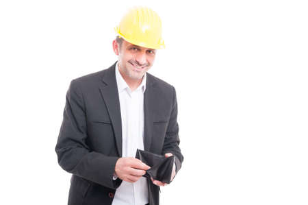 hard: Foreman wearing yellow hardhat checking his wallet and smiling isolated on white background
