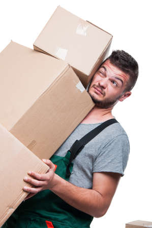 Mover guy carrying bunch of heavy boxes isolated on white background