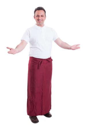 clothing store: Friendly mid age butcher doing welcoming gesture inside the store on white background