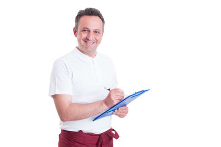 clothing store: Happy salesperson or butcher making a checklist or inventory isolated on white