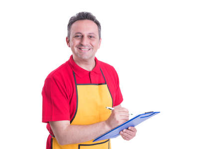 Salesman with clipboard taking product inventory in hypermarket isolated on white background
