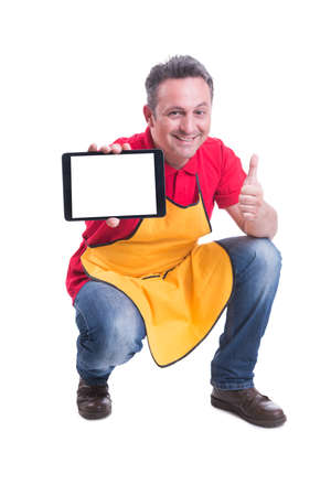 Sales assistant holding tablet with text space in the store and doing like gesture on white background