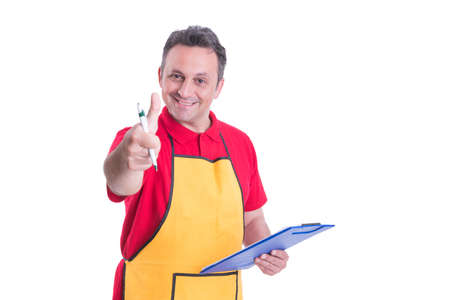 Successful supermarket employee rising thumb up and holding clipboard with checklist Stock Photo