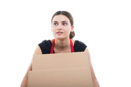 Supermarket employee receiving boxes with products for the store isolated on white