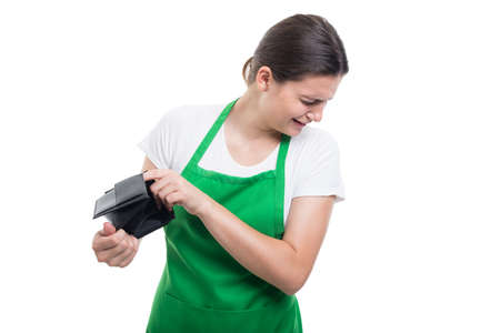 Young saleswoman remaining with no money and crying when chek her empty wallet