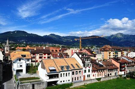 vevey: High angle view of swiss city Vevey