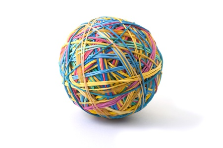 A ball made of rubber bands isolated on white photo