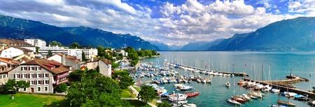 leman: High angle panorama of swiss lake Leman Stock Photo