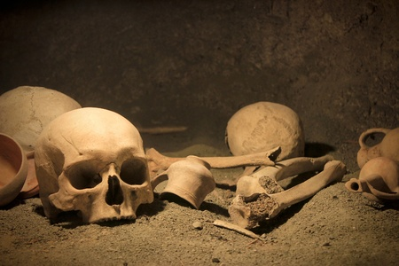 human bones: Frightening human bones on ancient archaeological site