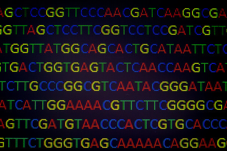 forensic medicine: DNA sequence with colored letters on black background