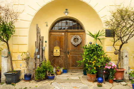 Vintage mediterranean garden by the door with potted trees;