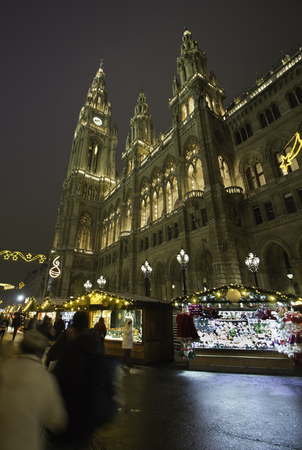 Christmas Market near the City Hall in Vienna, Austria.