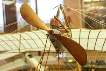 Wooden airplane model built by DaVinci's drawings