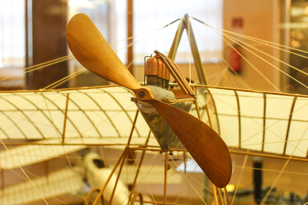 Wooden airplane model built by DaVincis drawings