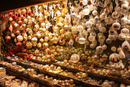 Stand with toys and souvenirs in Vienna Christmas market