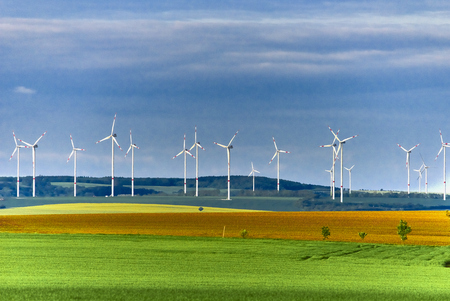 Wind Farm in green meadow