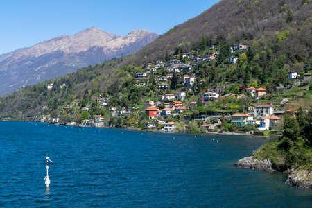 Landscape with villas over Como Lake shore Archivio Fotografico