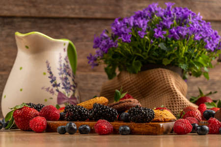 Forest fruits, chocolate biscuits with campanula and ceramic jug