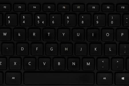 Close up view of black keyboard and keys