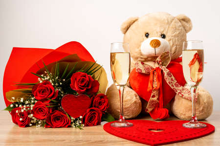 Teddy bear with rose bouquet for Valentines day