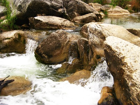 Small waterfalls running down Pedernales River, Austin, Texas Stock Photo