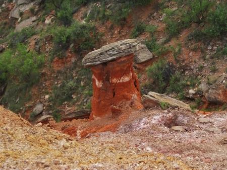 Boulder sitting atop a pillar of red clay in Palo Duro Canyon, Amarillo, Texas