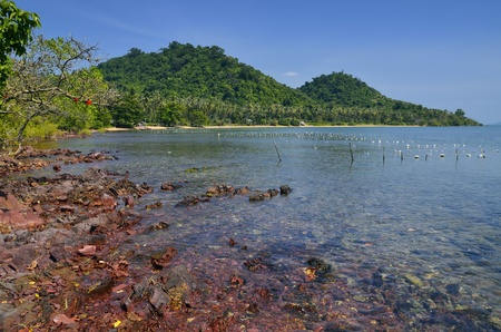 Awesome view of the hills at Koh Tonsay Island, from where you can enjoy the red rocks and the translucid sea  Stock Photo - 13402350