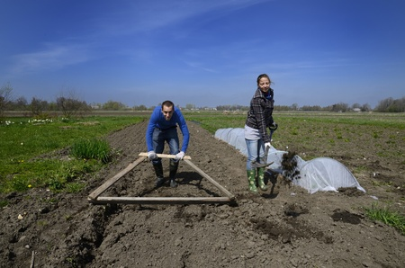 Latvian woman and Spanish man working in a farm in the Latvian countryside. photo