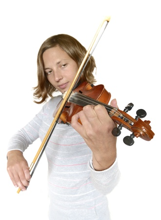 Girl playing the violin - Front isolated picture photo