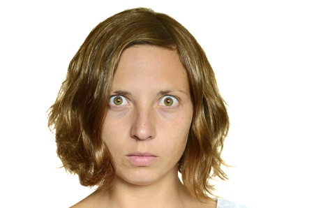 Socked eyes of girl  She cannot believe what she has seen  photo