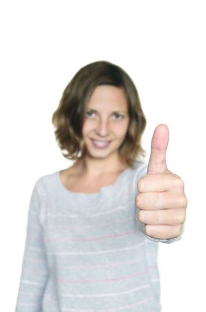 Thumb up  This girl approve you  Let photo