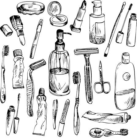 make up brush: esbozo de objetos de ba�o, elementos vectror dibujados a mano