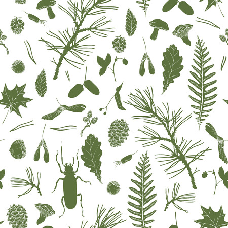vector seamless pattern with ink drawing forest objects, seeds, leaves, twigs, pine cones, beatles, hand drawn vector illustration