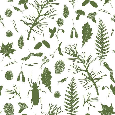 lijntekening: vector naadloze patroon met inkttekening bos voorwerpen, zaden, bladeren, takjes, dennenappels, beatles, met de hand getekende vector illustratie Stock Illustratie