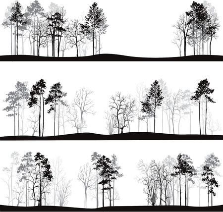 larch: set of different landscapes with pine trees, hand drawn vector illustration