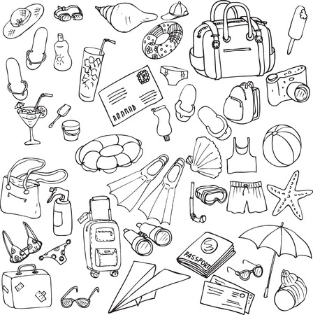 bag cartoon: vector sea and travel set of sketch, hand drawn infographic sketches, sea and travel line drawing design elements